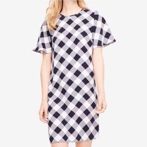ANN TAYLOR Navy Gingham Check Shift Dress